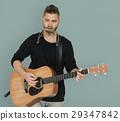 guitar, harmonica, man 29347842
