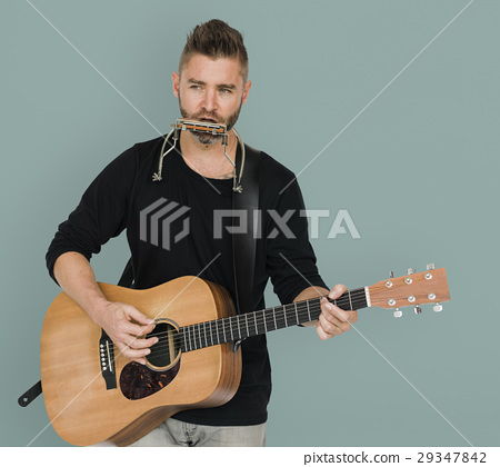 Men Musician Play Guitar Harmonica 29347842