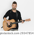 Men Musician Play Guitar Harmonica 29347854