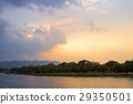 Sunset at the river,Kanchanaburi River Kwai 29350501