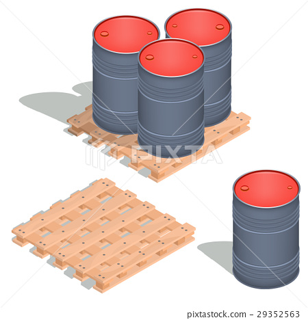 Vector isometric icons of barrels of oil on a 29352563