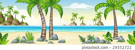 Illustration of a tropical coastal landscape 29352722