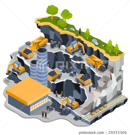 Vector isometric illustration coal mining quarry 29355300