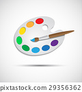 Modern art palette with brush and eight colors 29356362