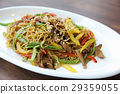 Chinese food fried noodle with ham 29359055