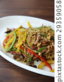 Chinese food fried noodle with ham 29359058