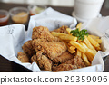 Fried chicken on wood background 29359096
