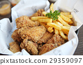 Fried chicken on wood background 29359097