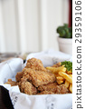 Fried chicken on wood background 29359106