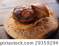 Beef Hamburger on wood background 29359294