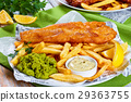 delicious crispy fish and chips on plate 29363755