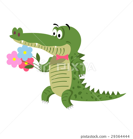 Cartoon Crocodile with Flowers Isolated on White 29364444