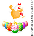 Funny Easter eggs with chicken.  29366887