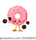 Donut cartoon holding dumbbell with happiness 29368649