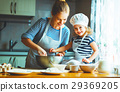 happy family in kitchen. mother and child  29369205