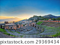 View of the ancient greek theater of Taormina with Etna volcano 29369434