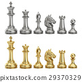 Gold and silver chess figures in row, 3D rendering 29370329