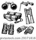Binocular monocular vintage, engraved hand drawn 29371816