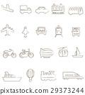 簡單的線條繪製車輛圖標材料 29373244