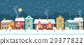 Snowy Christmas night in the cozy town, panorama 29377822