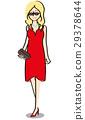 여성, 드레스, 벡터 29378644