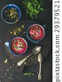 Detox beetroot soup with mint, pistachio, chia 29379521