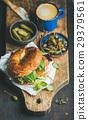 Breakfast with salmon, avocado, cream-cheese 29379561
