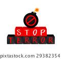 Stop terrorism on block with bomb. 29382354