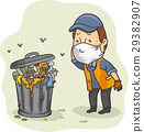 Man Garbage Collector Garbage Can 29382907