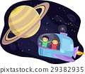 Stickman Kids Spaceship Saturn 29382935