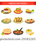 Mexican Food Signature Dishes Illustration Set 29383265