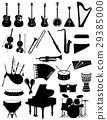 musical instruments set icons black silhouette 29385000