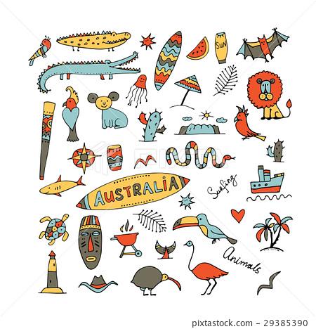 Australia icons set, sketch for your design 29385390