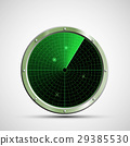 Icon green military radar on the screen. 29385530