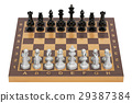 Chess board with figures, top view. 3D rendering 29387384