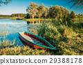 Lake Or River And Old Wooden Blue Rowing Fishing 29388178