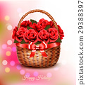 Holiday background with red flowers and basket  29388397