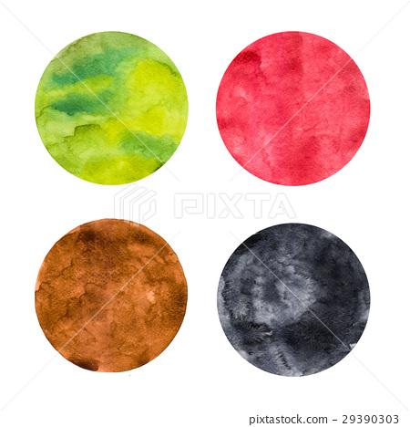 Abstract colorful watercolor painting circle set 29390303