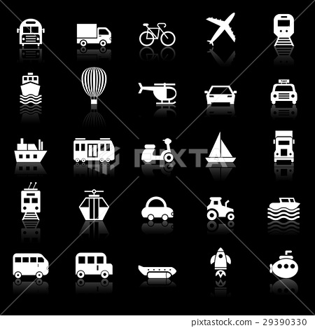 Transportation icons with reflect on black 29390330