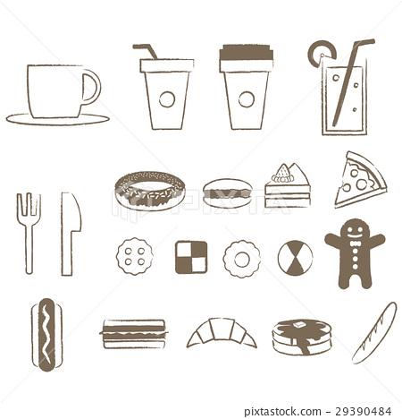 簡單的線條畫咖啡館和麵包和糖果 29390484