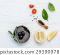 Food background with fresh herbs . 29390978