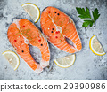 Fresh salmon fillet sliced flat lay . 29390986
