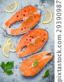 Fresh salmon fillet sliced flat lay . 29390987
