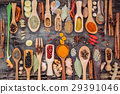 Various of spices and herbs in wooden spoons.  29391046