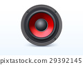 Loud speaker with red diffuser isolated on white 29392145