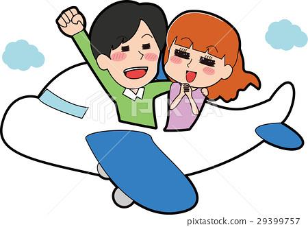 乘坐飛機的夫婦的例證 29399757