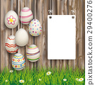 Hanging Easter Eggs Worn Wood White Board 29400276