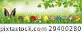 Hare Colored Easter Eggs Grass Beech Twigs Header 29400280