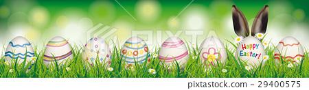 Easter Eggs Happy Easter Rabbit Ears Header 29400575