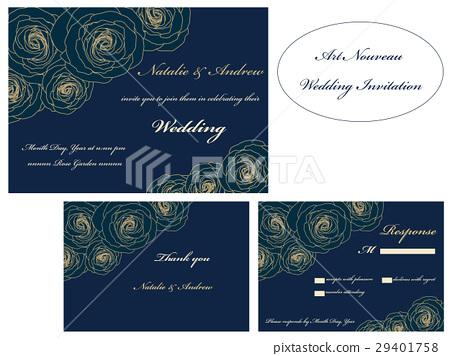 Wedding invitation set. RSVP. Thank you card. 29401758